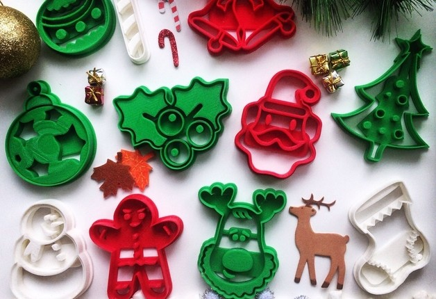 Decorazioni natalizie 3D, stampi per biscotti